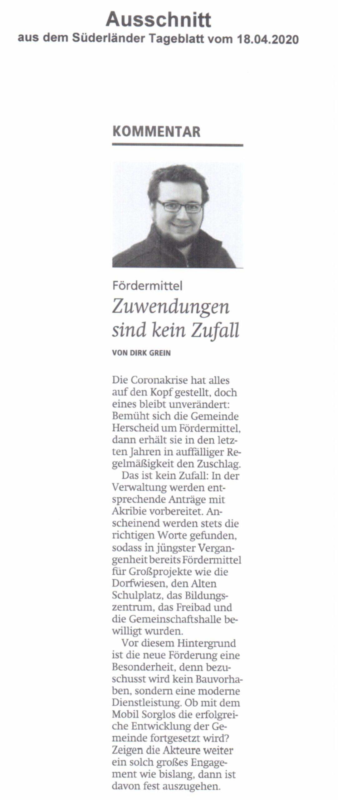 Bild Süderländer Tageblatt Kommentar vom 18-04-2020
