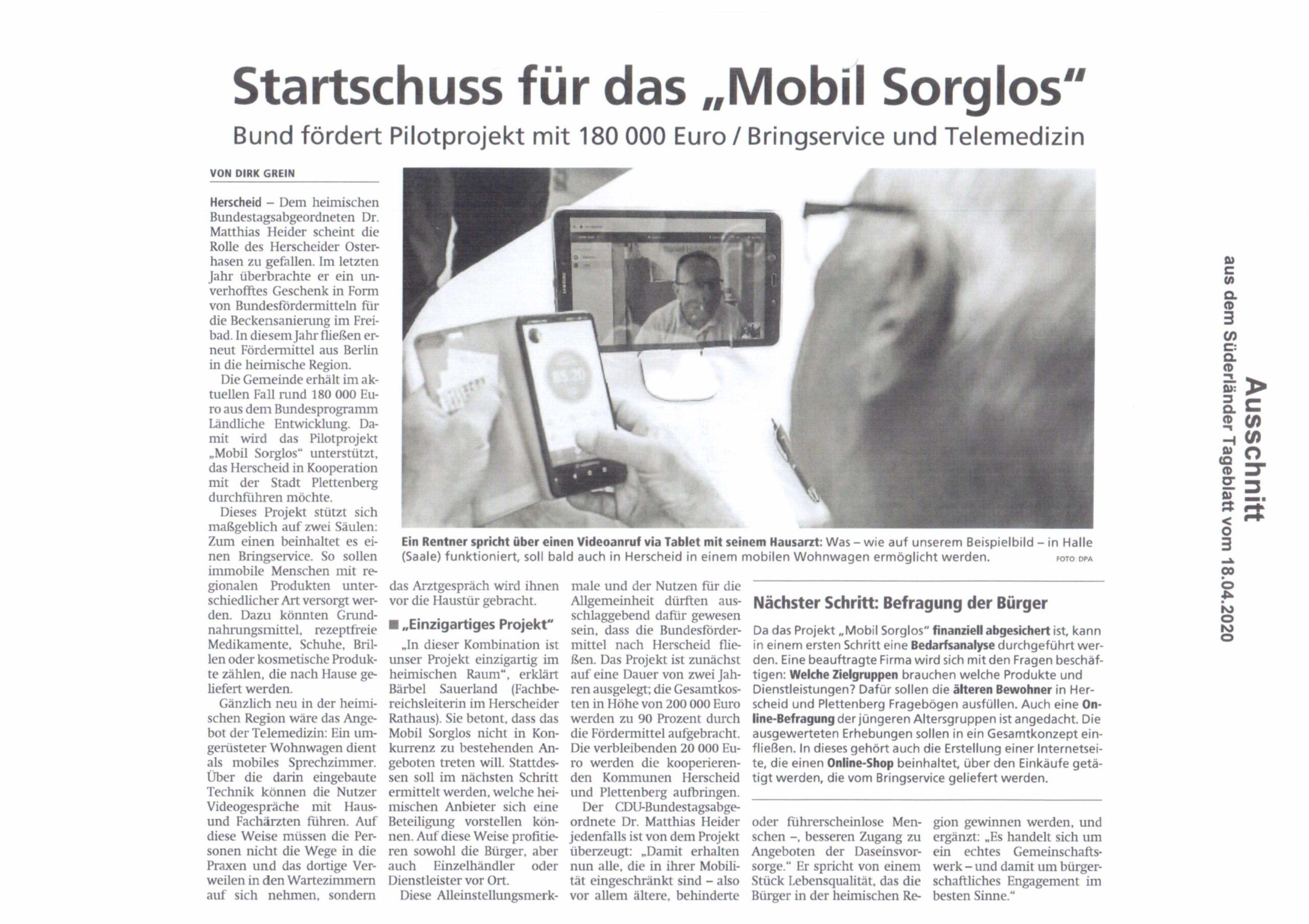 Bild Süderländer Tageblatt Startschuss für MobilSorglos